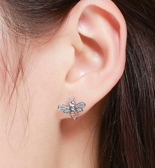 Silver Bee High Quality Stud Earrings