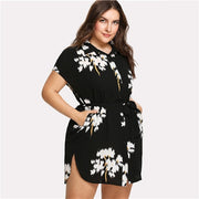Black Floral Dolphin Hem Shirt Dress