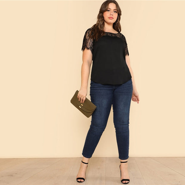 Lace Yoke Curved Hem Plus size Tee