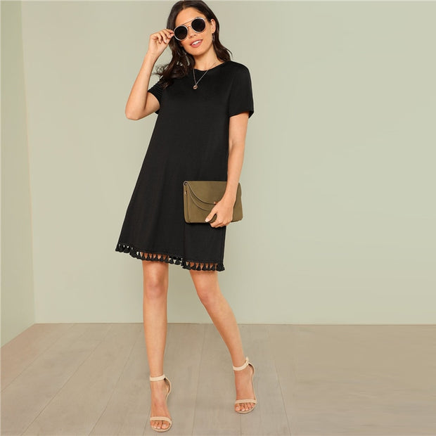 Tasseled Elegant Mini Dress with Pockets