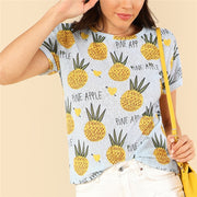 Blue preppy pineapple Summer T-shirt