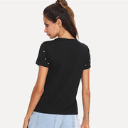 Choker Neck Short Sleeve T-shirt with Pearl Beading