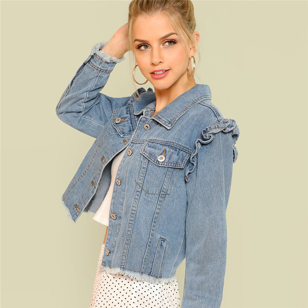 Long Sleeve Blue Casual Denim Jackets