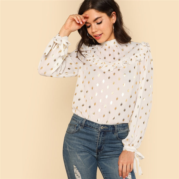 Gold Dot Print Long Sleeve with Ruffle Stand Collar Blouse