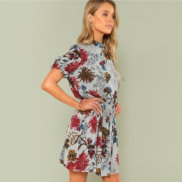 Multicolour Boho Ruffle Cuff Mini Dress