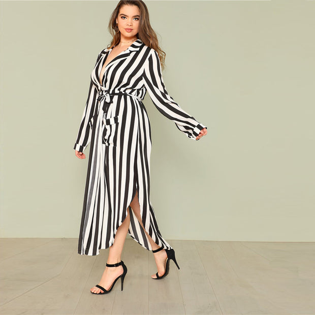 Black And White Stripe Belted Plus Size Maxi Dress