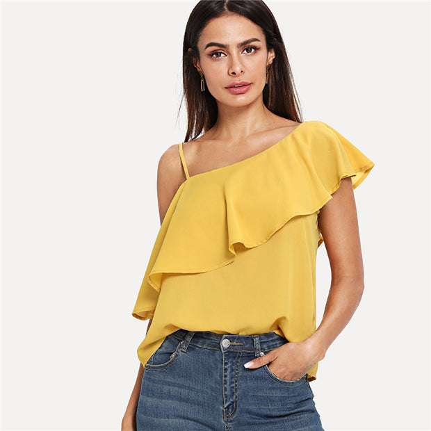 Yellow Elegant Asymmetrical Neck Flounce Trim Blouse