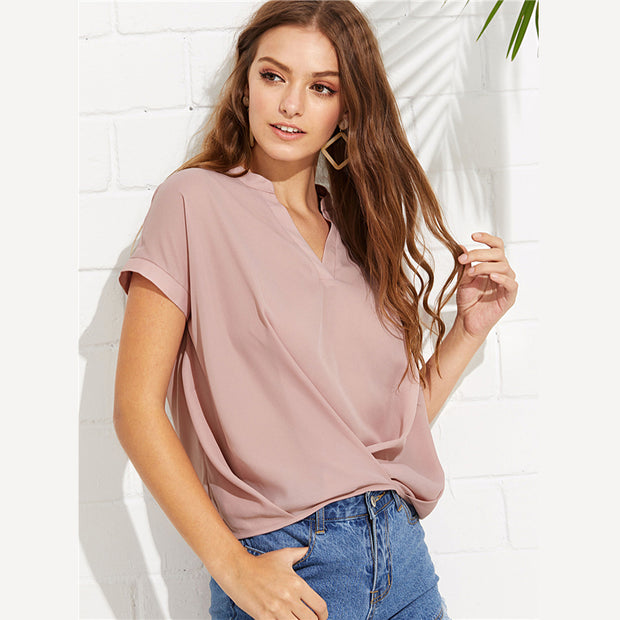 Pink Elegant Draped V-Neck Short Sleeve Blouse