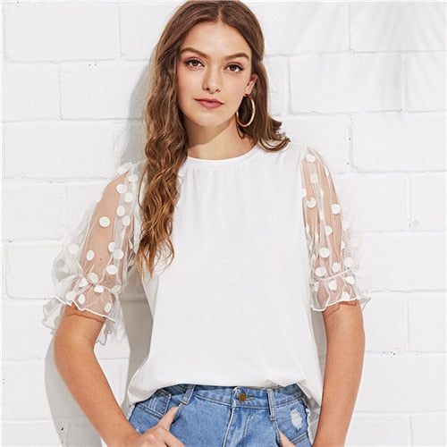 White Polka Dot Mesh T-shirt