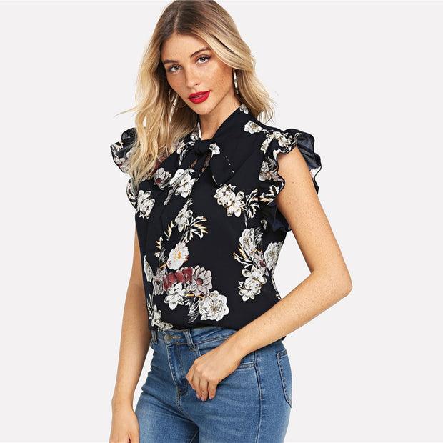 Navy Floral with Print Ruffle Tie Neck and Flutter Sleeve Blouse