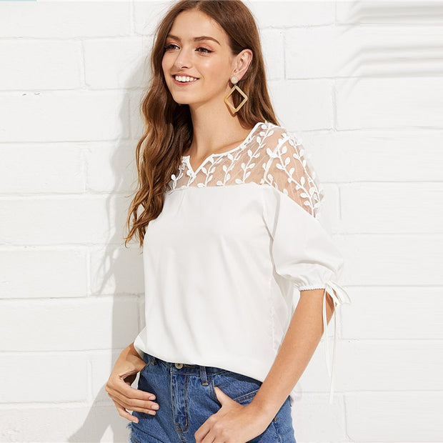 V-Neck Casual Top with Contrast Mesh Knot Sleeve Blouse