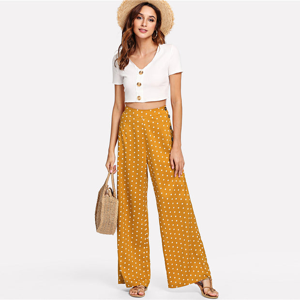 Ginger Polka Dot Pants with Side Button Detail