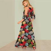 Summer Floral Print Deep V-Neck Open Shoulder Maxi Dress