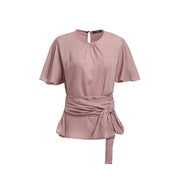 Pink Pleated Front Shirt