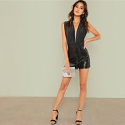 Deep V-Neck Sleeveless Metallic Bodysuit