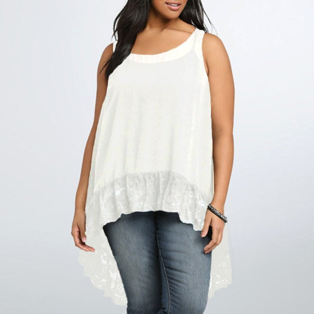Sleeveless Casual Loose Blouse with Lace Hem