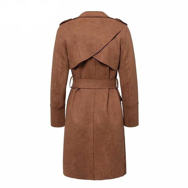 Turn down collar sash suede trench coat