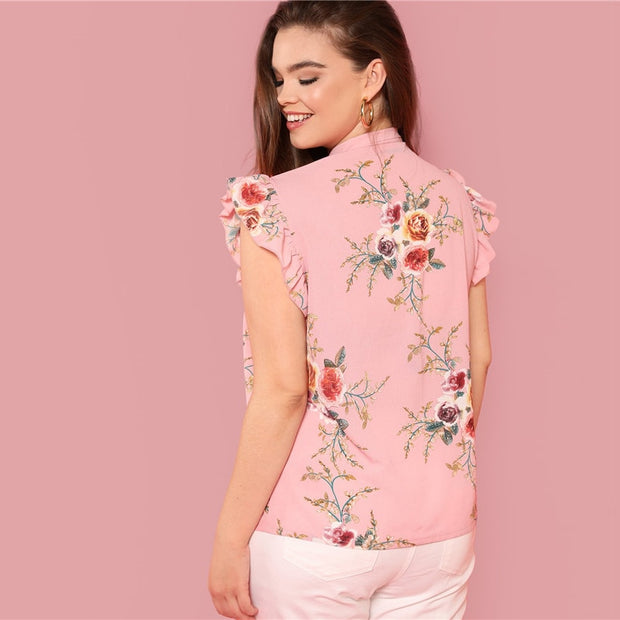 Pink Floral Tie Neck Plus Size Blouse with Ruffle Sleeve