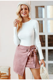 Asymmetrical split mini suede skirt