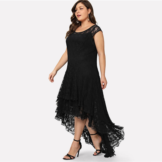 Backless Plus Size Layered Floral Lace Dress with Dip Hem