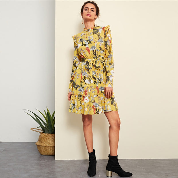 Yellow Floral Frill Trim Dress