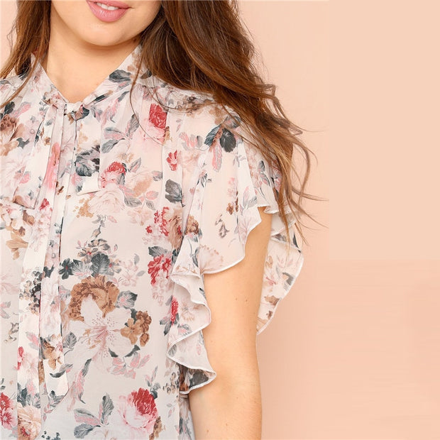 Floral Print, Ruffle Sleeve Plus Size Blouse