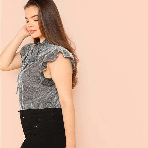 Grey ruffle trim tie neck Plus Size thin blouse