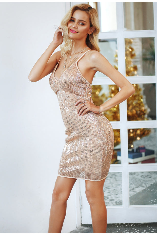 Sexy backless sequin summer dress
