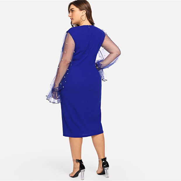 Plus Size Pencil Dress with Mesh Pearl Beaded Sleeves
