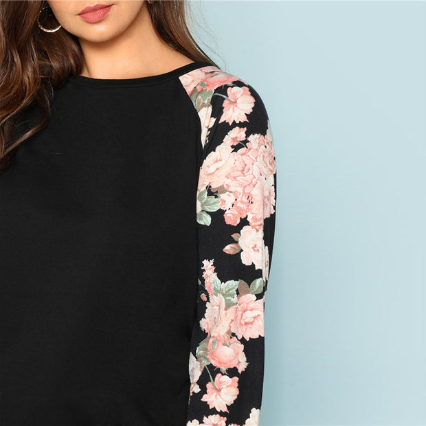 Floral Raglan Sleeve Casual Plus Size Top