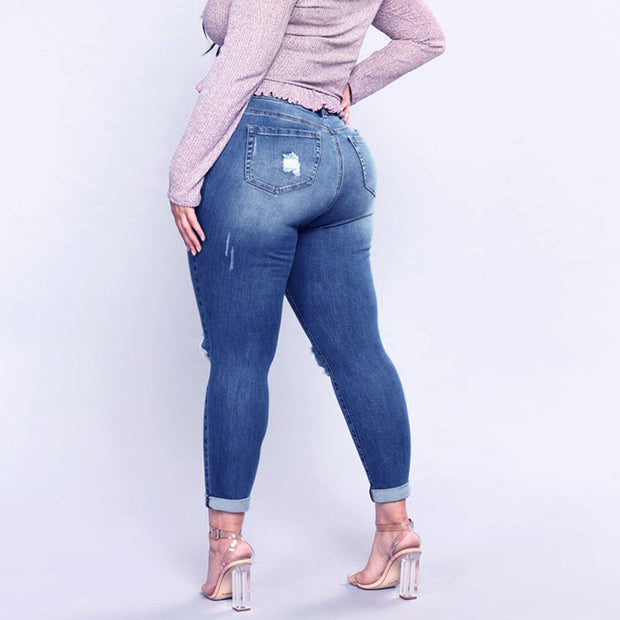 Plus Size Ripped Stretch Jeans