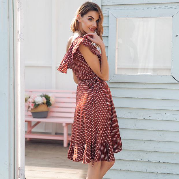 One Strap ruffle satin summer dress women