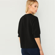 Black Elegant Button Front Raglan Sleeve Blouse