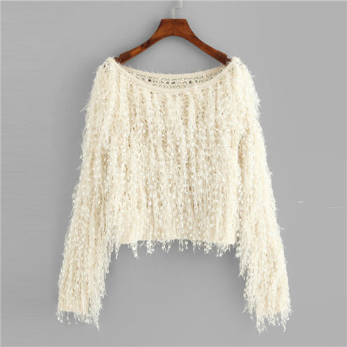 Apricot Loose Knit Fuzzy Fringe Sweater