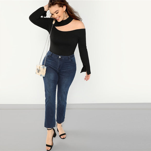 Cut Out Asymmetrical Neck Plus Size Top