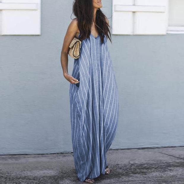 Plus Size Striped Summer Dress with V-Neckline