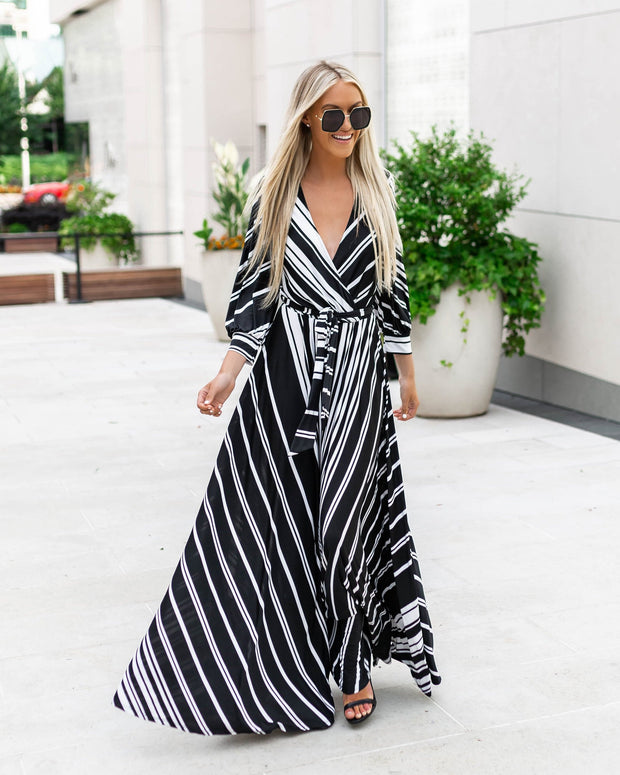 V-neck Striped Dress with Cross Tie up Waist