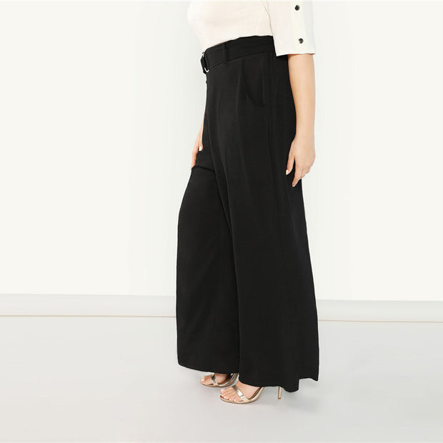 Black Plus Size Wide Leg Pants
