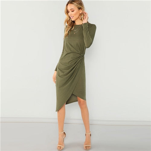 Army Green Casual Draped Waist Dress with Long Sleeves