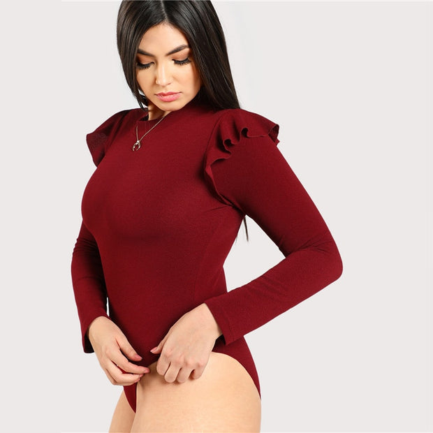 Burgundy Plus Size Bodysuit