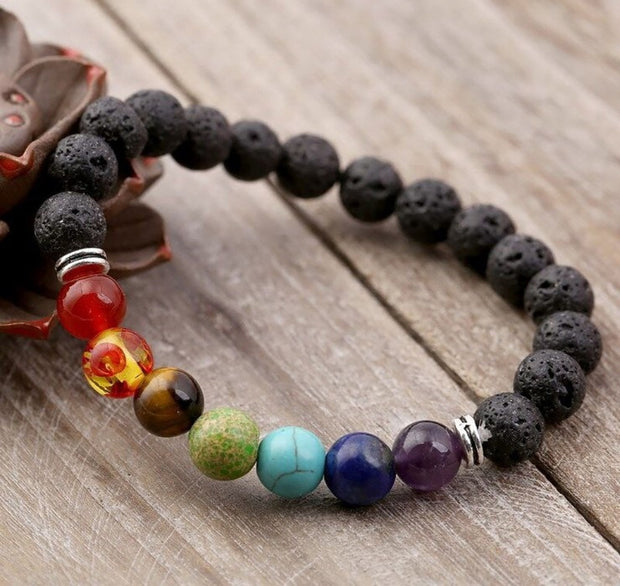 Crater and colour bead bracelet