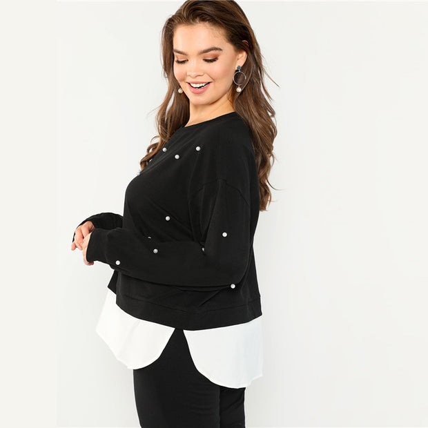 Black Plus Size Beaded Pearl Sweatshirts