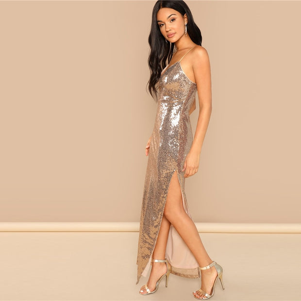 Gold Sequin Party Backless Maxi Dress
