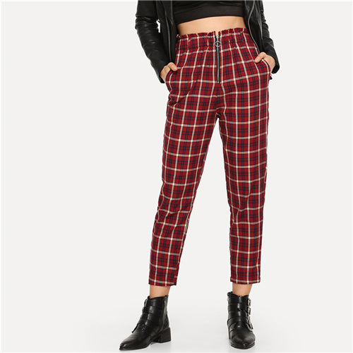 Burgundy Plaid Pants with Elastic Waist