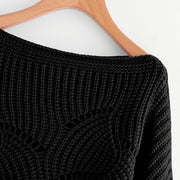 Black Preppy Oversized Scallop Trim Sweaters