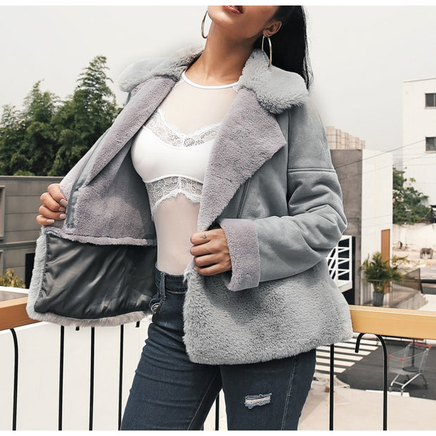 Grey streetwear fur teddy jacket
