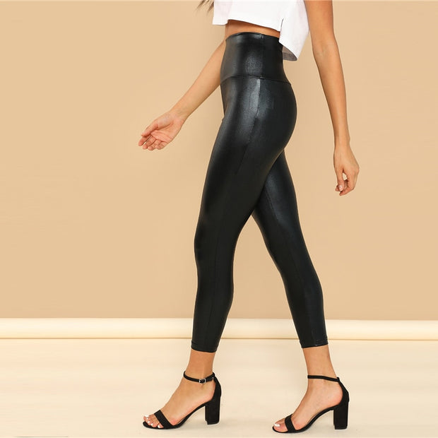 Crop Black Coated Crop Polyester Leggings