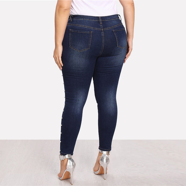 Blue Pearls Beads Casual Plus Size Jeans
