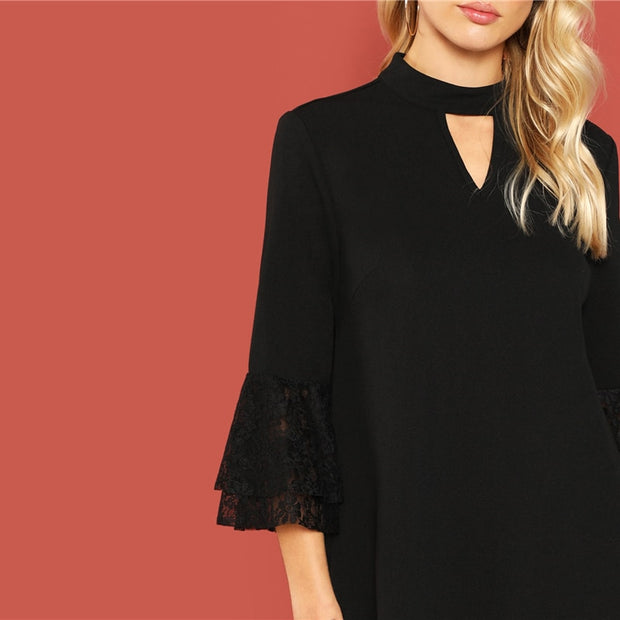 Black Choker Neckline Dress with Lace Trim 3/4 Sleeves