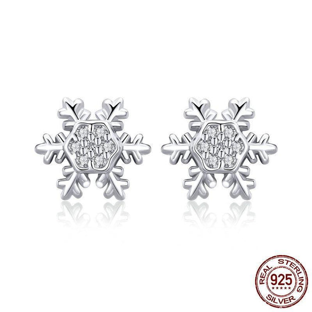 Silver Winter Snowflake Exquisite Stud Earrings